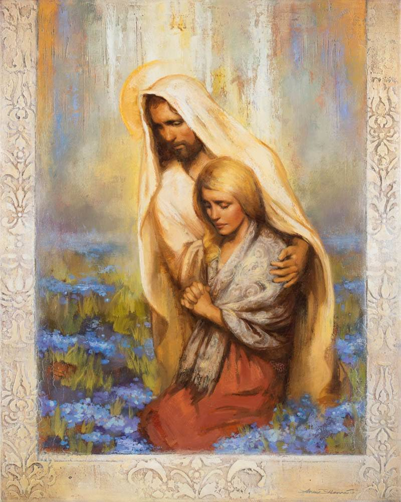 Painting of Jesus comforting a young woman who is praying.
