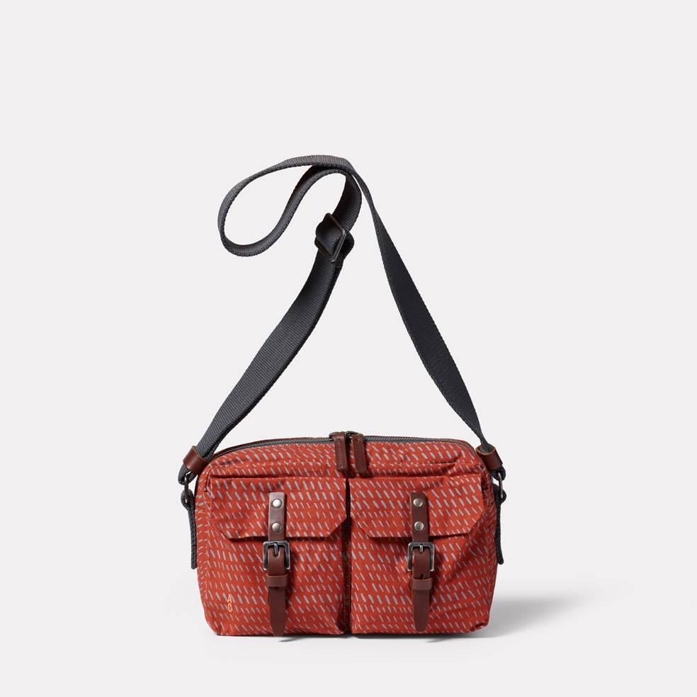 Franco Waxed Cotton Print Crossbody Bag in Rust