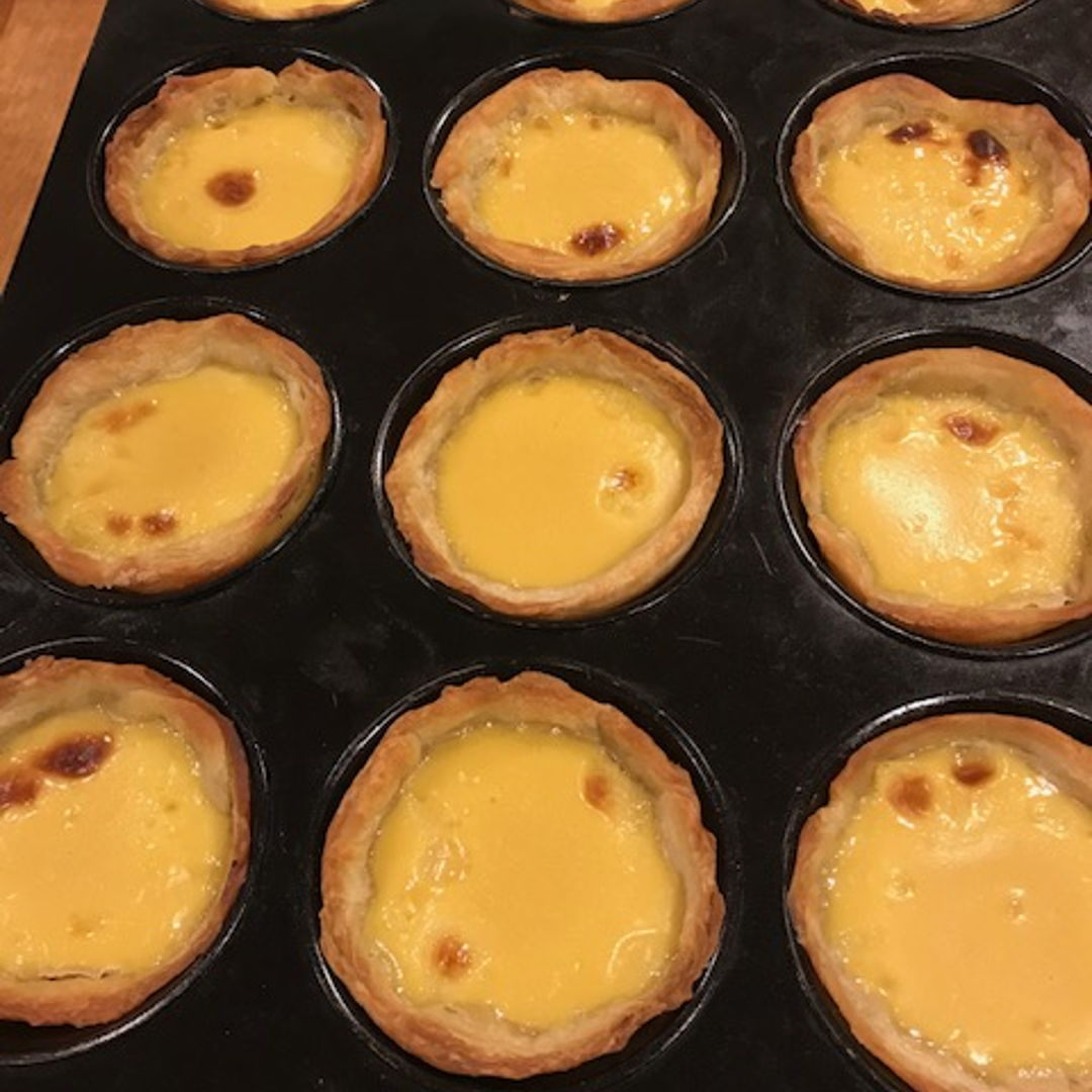 Portuguese egg tart baked in a muffin tin