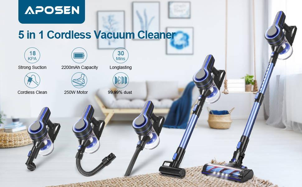 APOSEN 5 in 1 Cordless Vacuum Cleaner H251