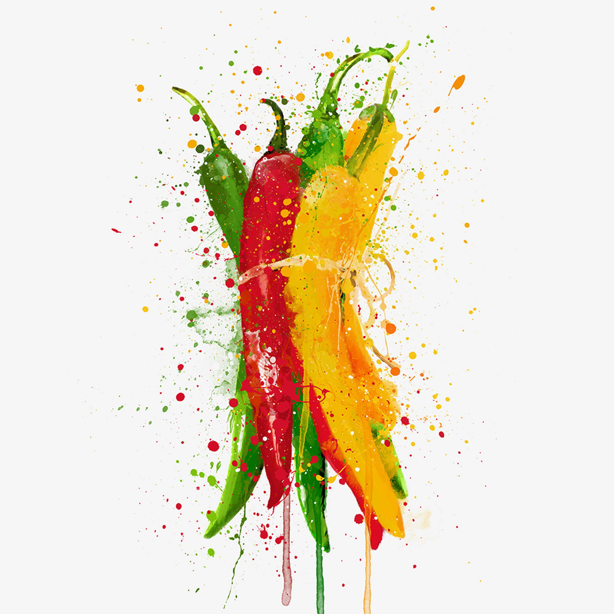 A bunch of chilli peppers in red, green and yellow Wall Art Print