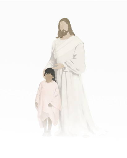 Modern minimalist painting of Christ standing next to a young girl.
