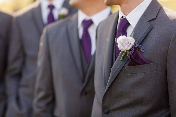 purple gray groomsman suits