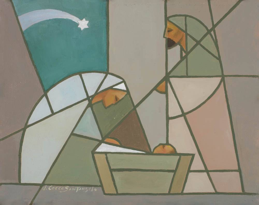 Modern LDS painting of the Nativity in cool colors.
