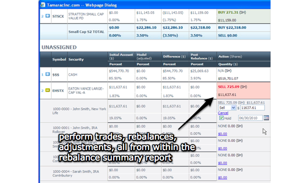 Rebalance report summaries allow advisors to edit and review information straight from within the report