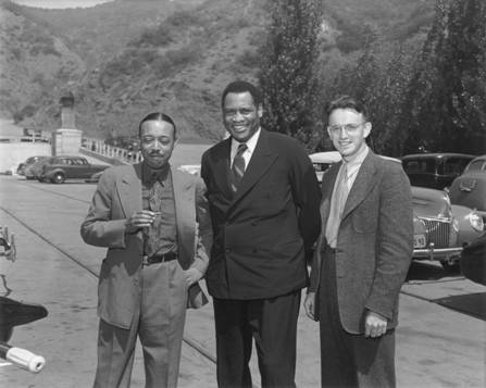 Photo of William Grant Still with Paul Robeson and Earl Robinson at the Hollywood Bowl circa 1940's.