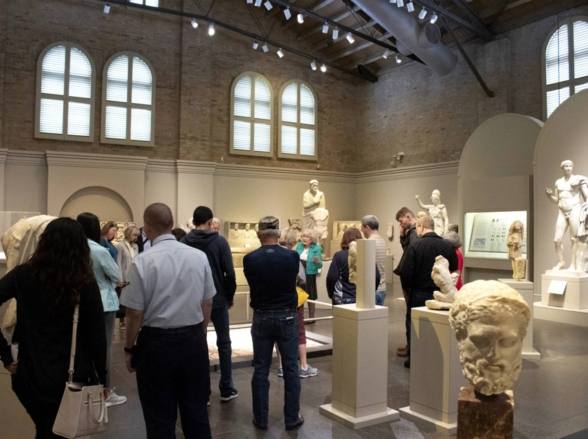 Adults gathered in Roman Gallery