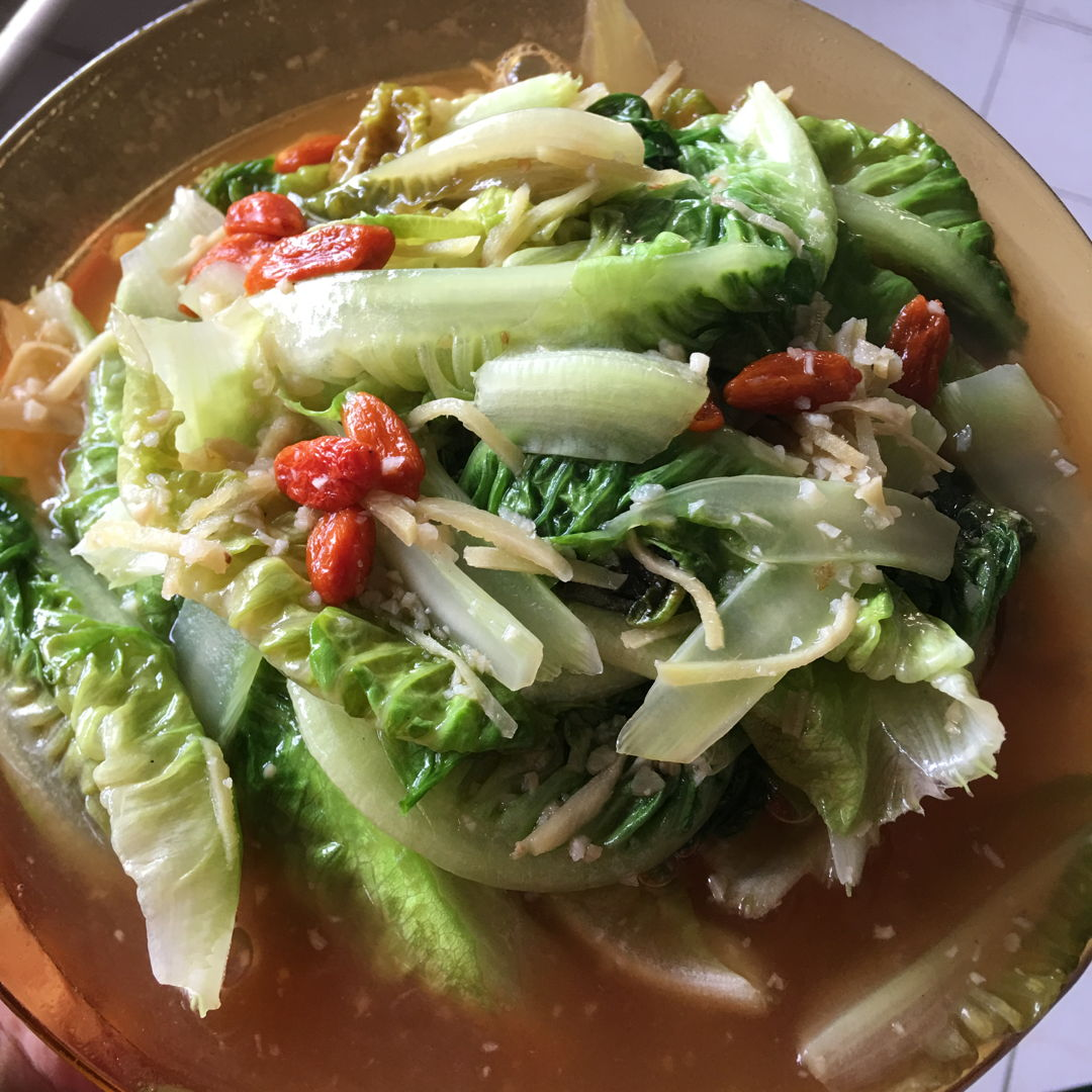 May 4th, 20 - Stirred fried yaw mak. Yaw mak looks like lettuce.