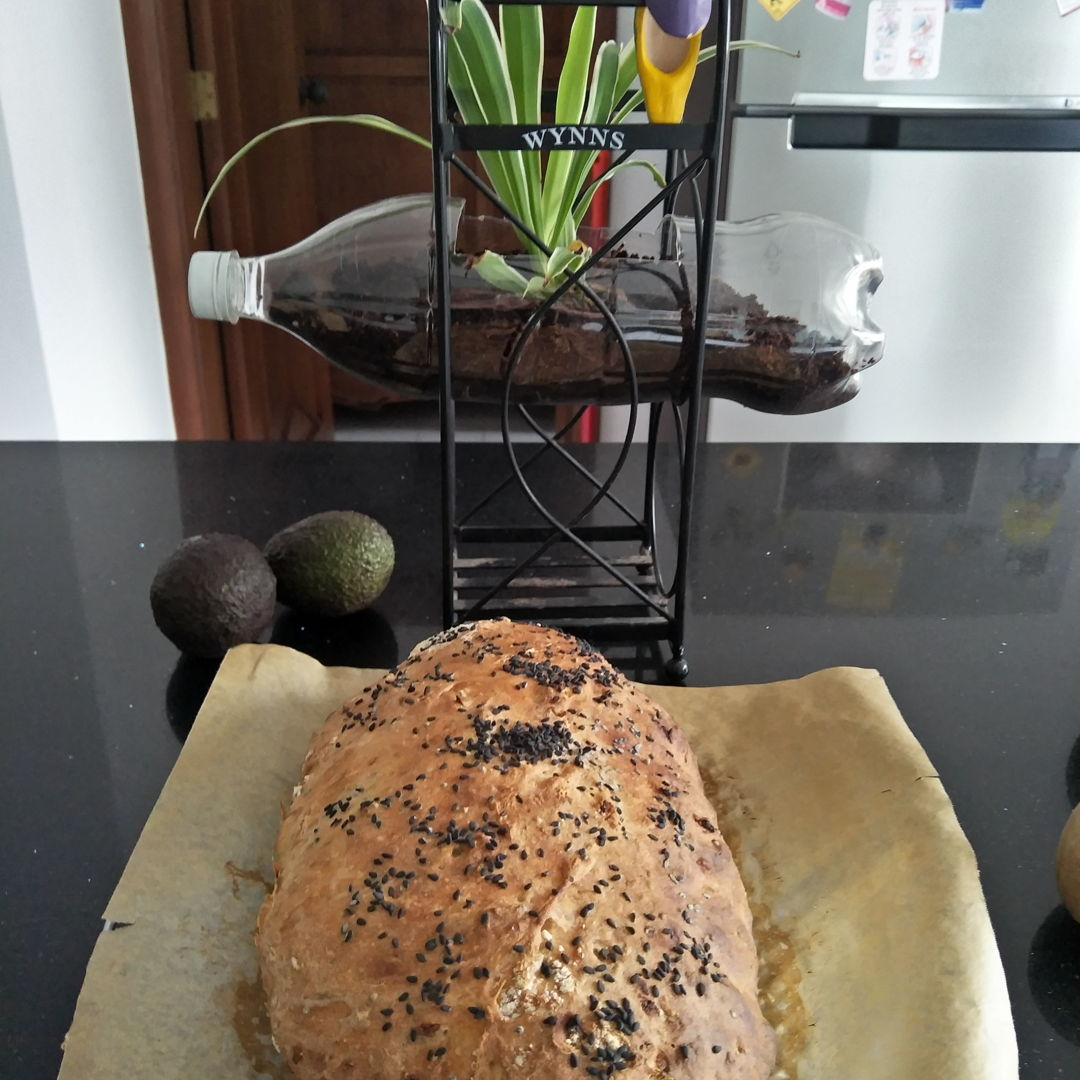yet another successful no knead herb+onion white bread, topped with black sesame seeds.............crusty outside and light/fluffy inside