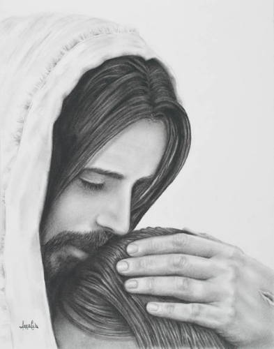 Jesus comforing a young woman with a hug.