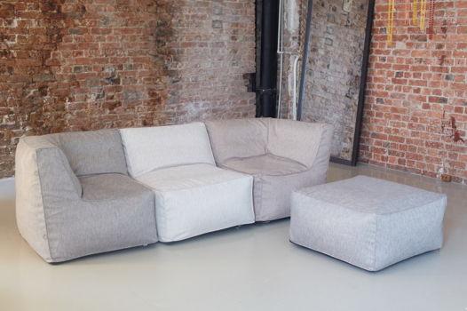 Бескаркасный модульный диван с двумя угловыми модулями