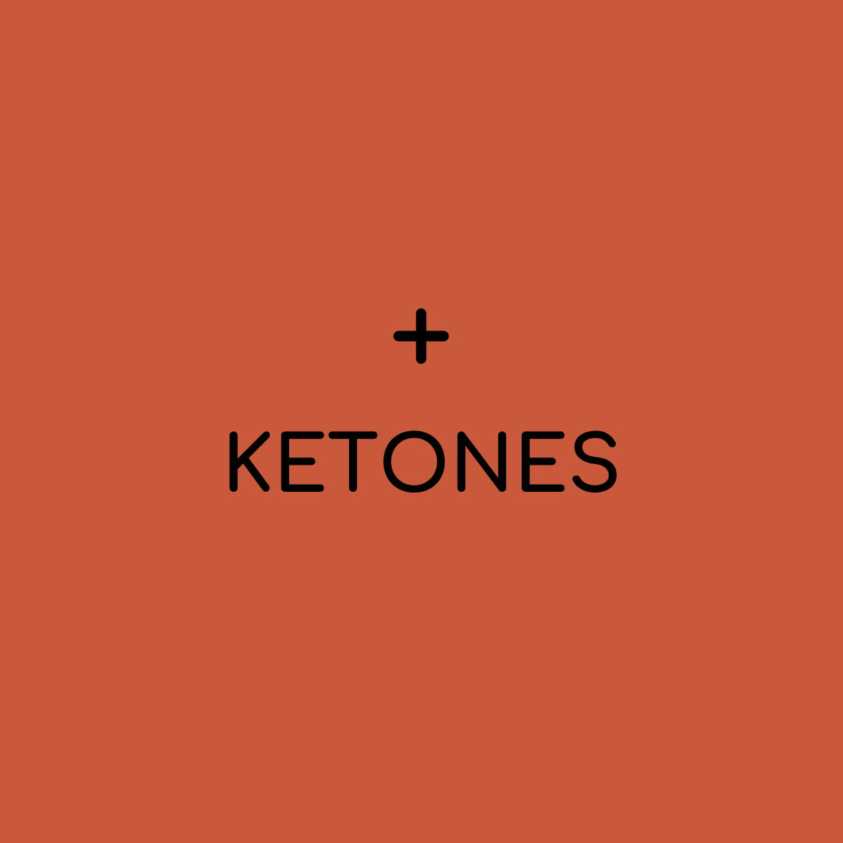 "solid background with plus sign and ""ketones"""