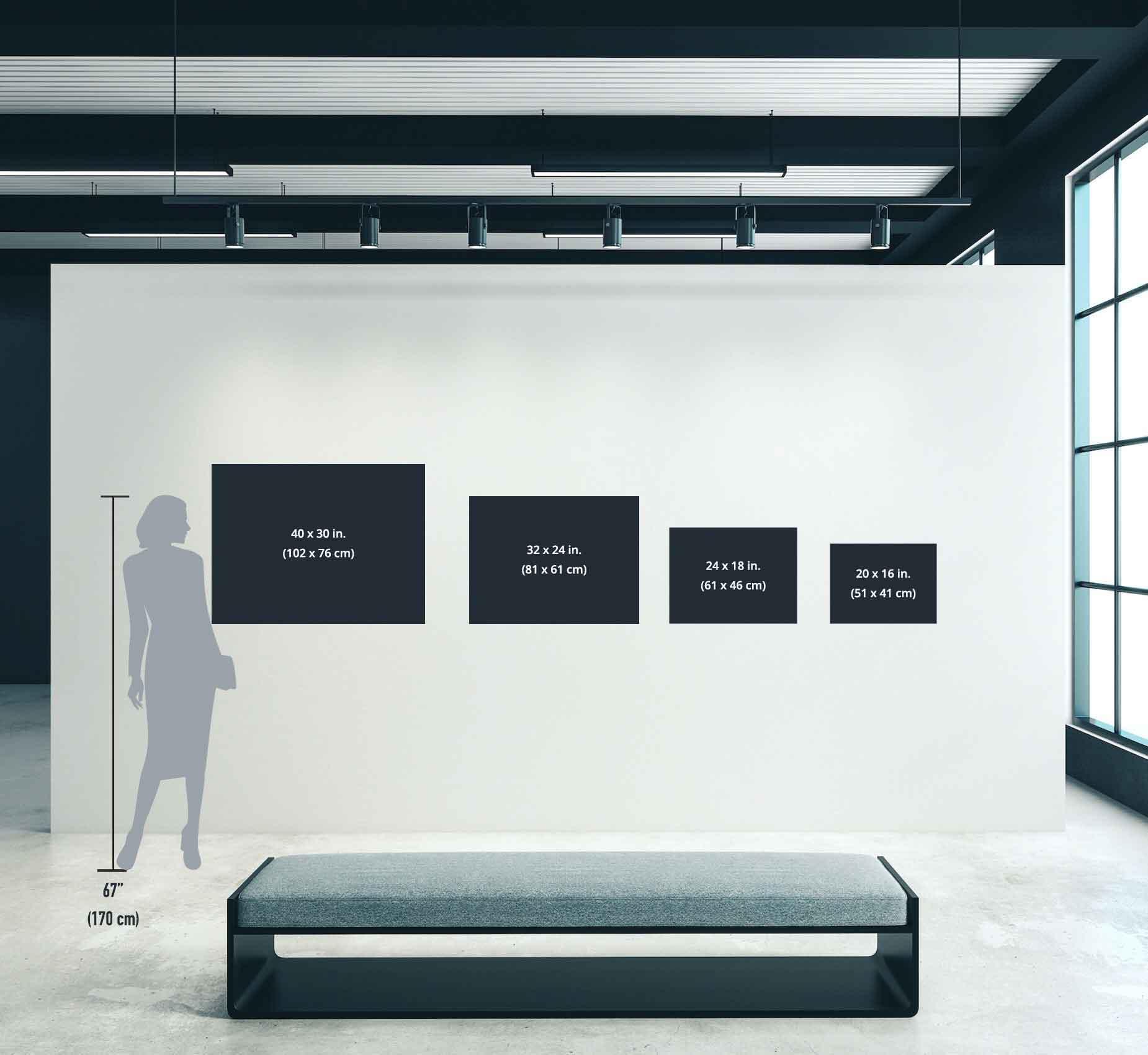 Guía de tamaños horizontales con figura de 180cm de alto