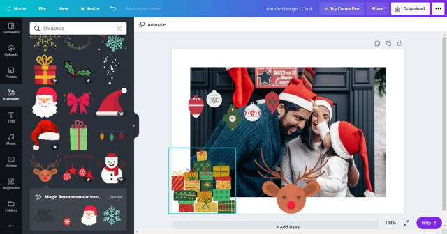 Canva Christmas effects