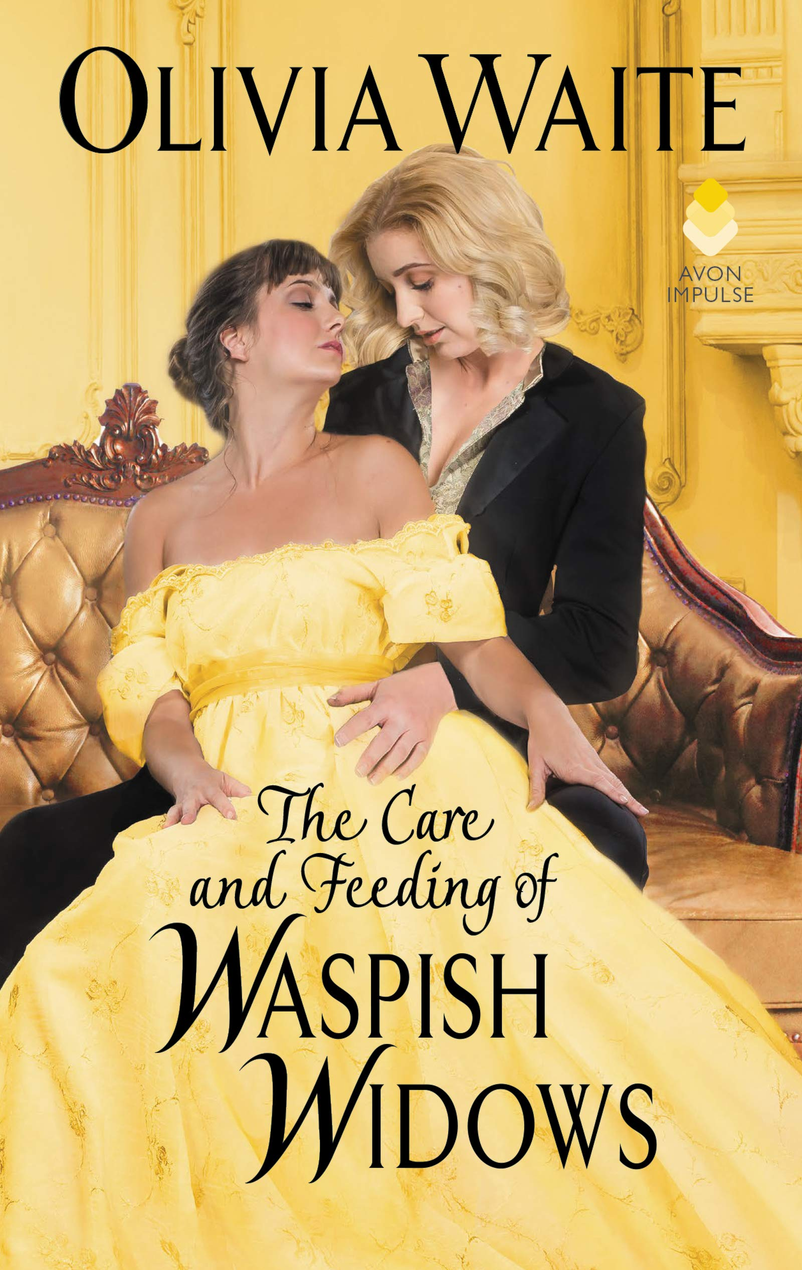 Image of the book cover that has two women, one wearing a long golden dress and the other woman has a blazer type suit, both are looking at each other with their eyes closed.