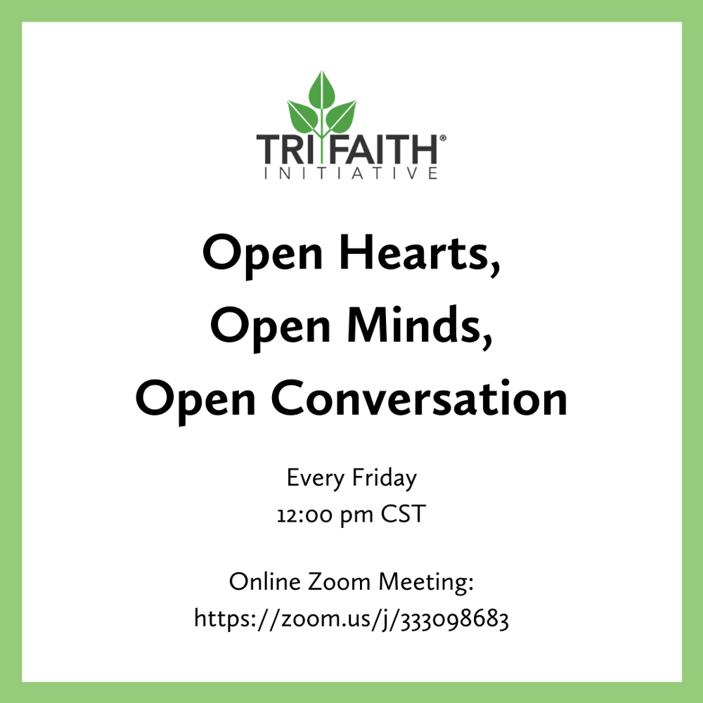 Picture of Grab your lunch and join Executive Director Wendy Goldberg and the rest of the Tri-Faith Initiative staff for a weekly online Zoom discussion every Friday at 12:00 pm CST.