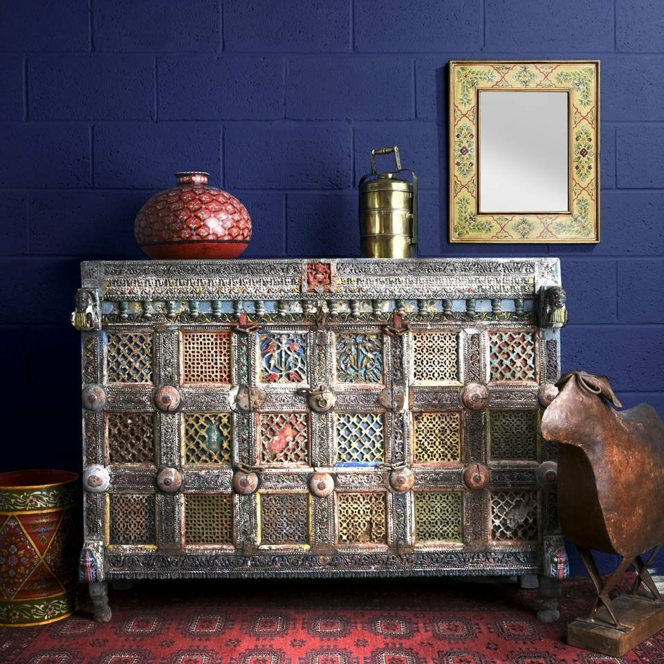 Shop Antique Indian Furniture, Sideboards, Cabinets - Indian Damchiya Painted Dowry Chest   Indigo Antiques