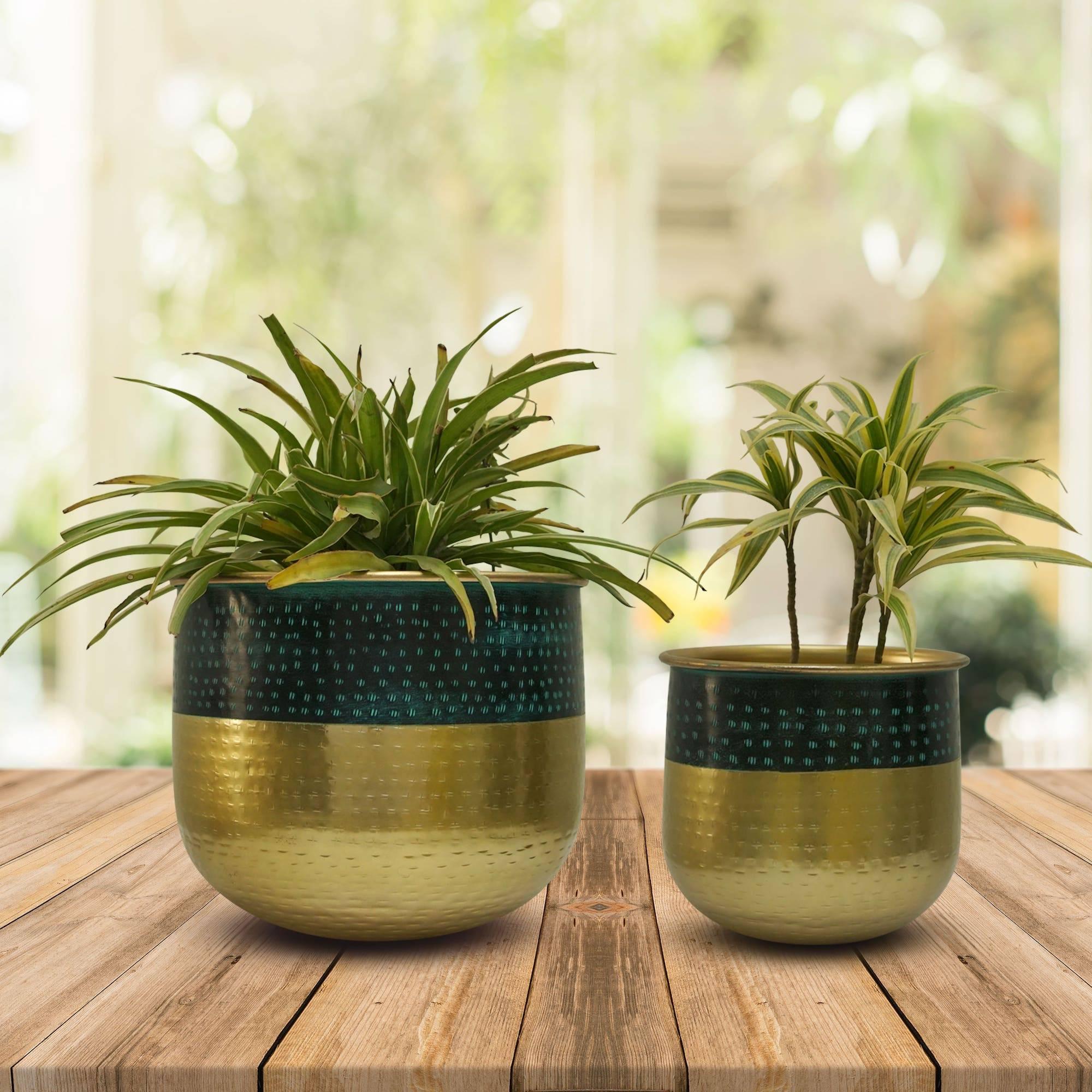 brass patina planters