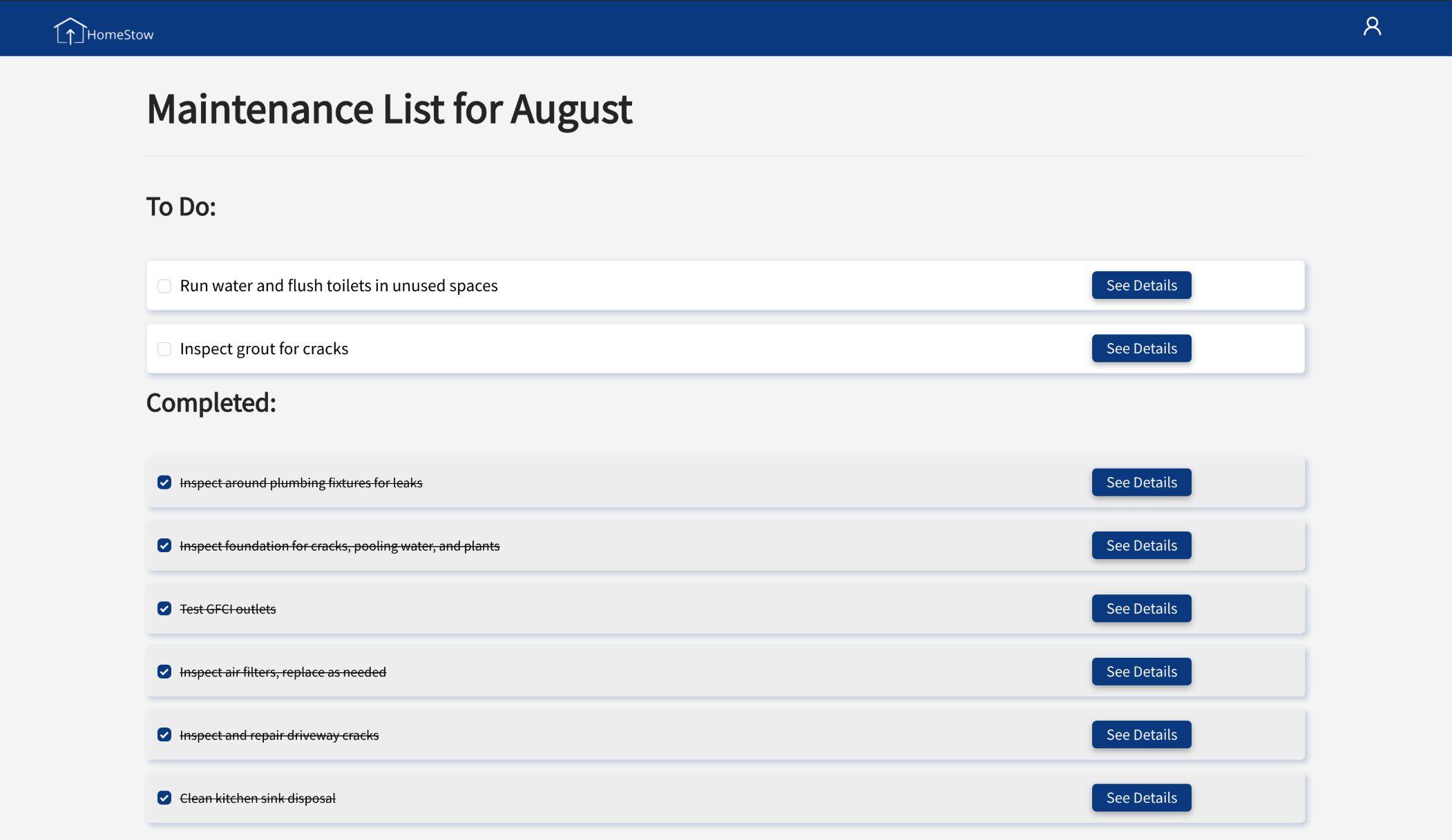 HomeStow maintenance list