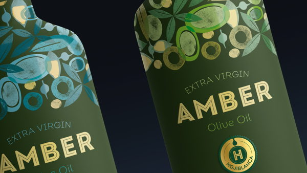 Gorgeous design of olive oil bottles for Amber