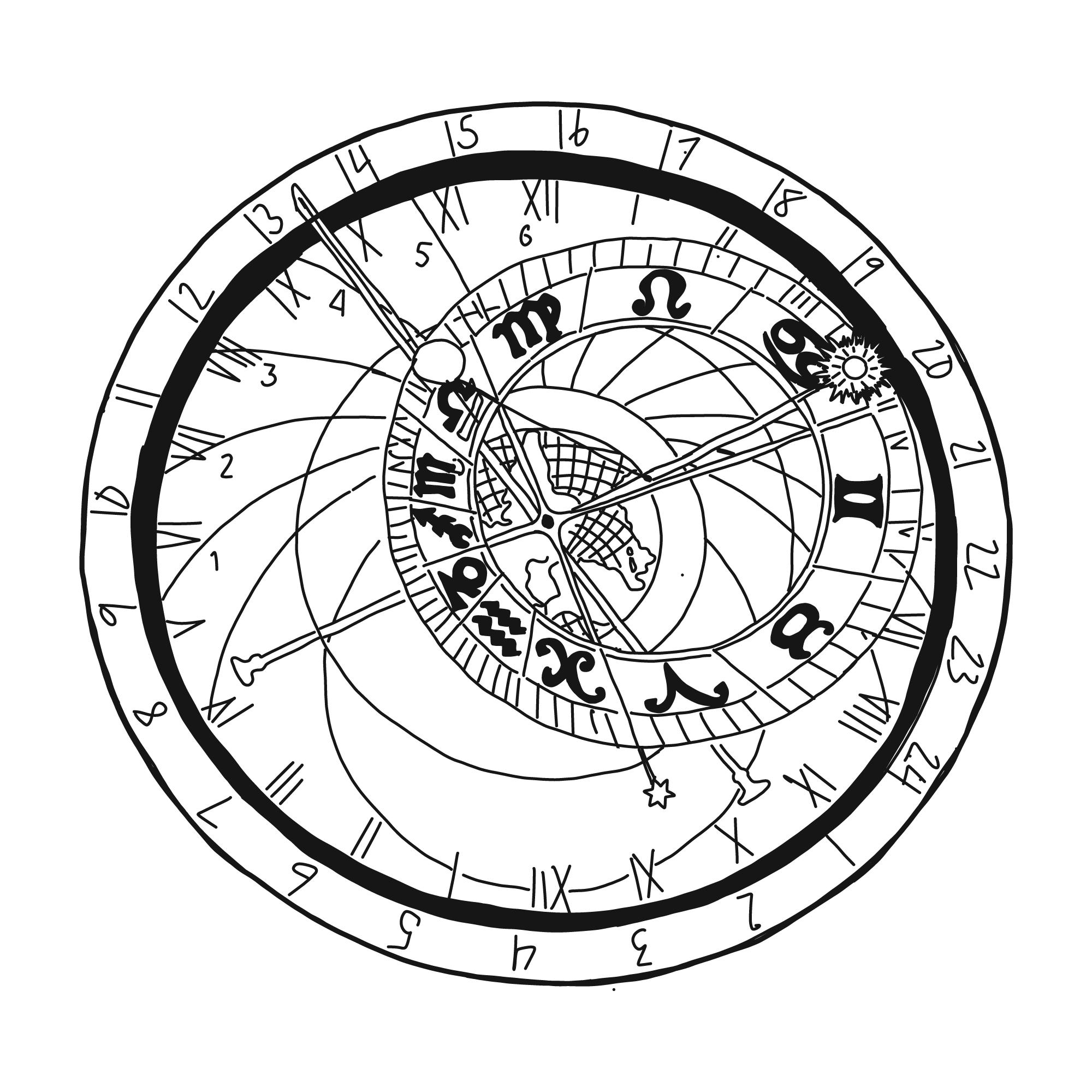 Amphora Water Cosmic Clock hand drawn by Codi Betts