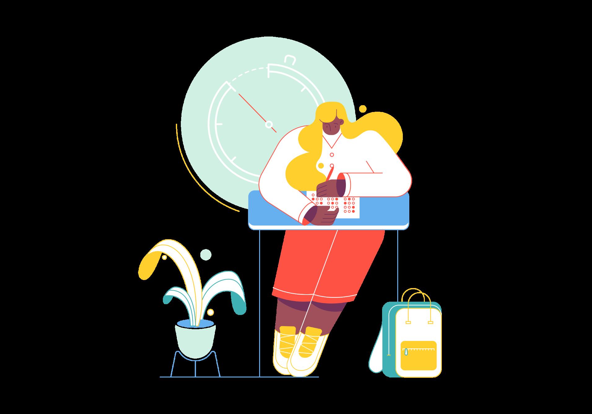 Ilustração de uma rapariga a estudar.