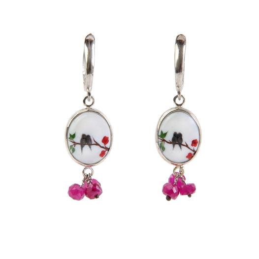 Серебряные серьги-кисточки с эмалью и розовой шпинелью, расписанные вручную