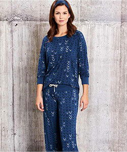Model wearing ThisisJ V-design bamboo pajamas