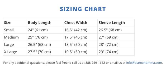 Diamond MMA Rash Guard Size Chart
