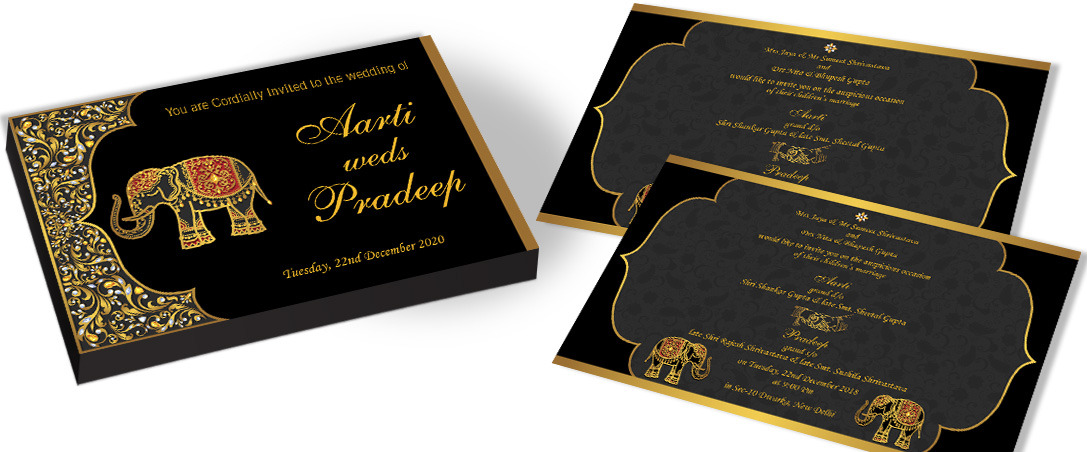 Golden Elephant Invitation for Hindu Wedding