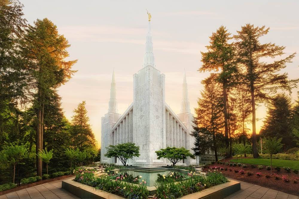 LDS art photograph of the Portland Oregon Temple at sunset.