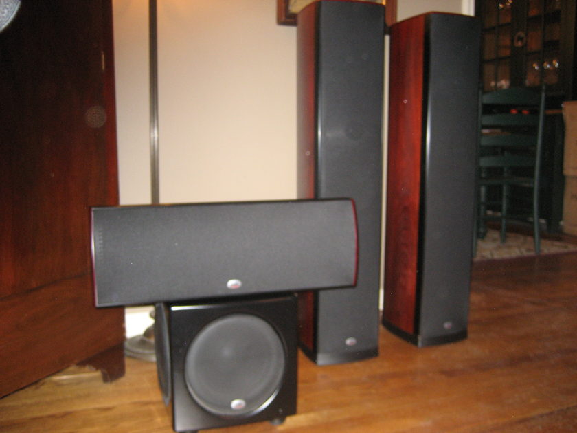 PSB Synchcrony System in Dark Cherry - One Towers, One Center, S Surrounds and HD10 Subwoofer - Full Home Theater System