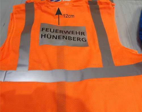 Warnweste mit Logo bedrucken lassen Gemeinde Hüneberg | Werbe-welt.ch