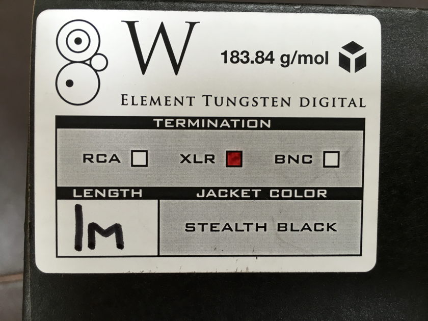 Synergistic Research Element Tungsten  1m, AES/EBU, w/ Optional UEF Tuning Bullets! Price Reduced!