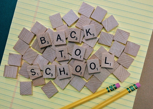 Back to school scrabble pieces and pencil