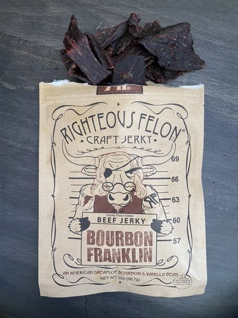 Righteous Felon Bourbon Franklin Beef Jerky JerkyGent