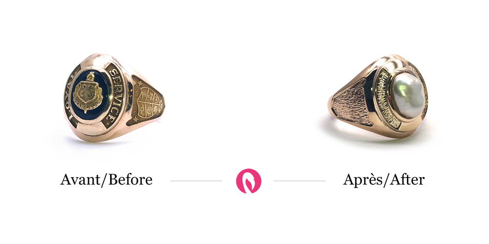 Transformation of a public service signet ring with inscription into a signet ring with texture instead of writing and a pearl in the centre.