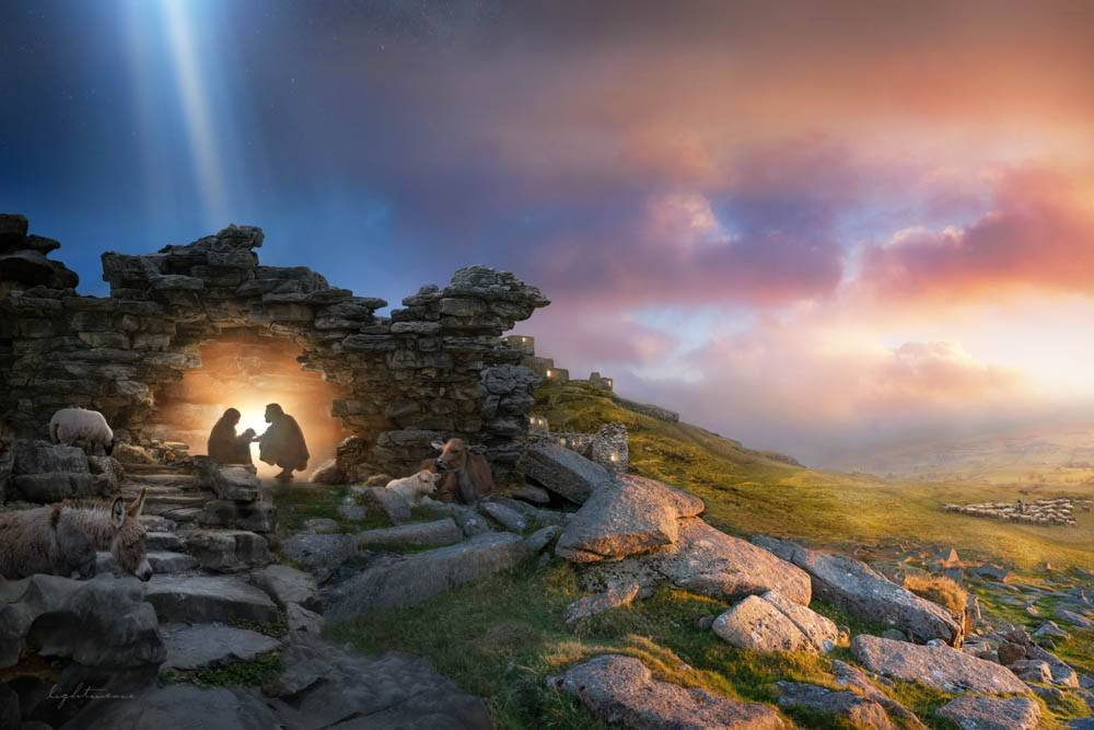 LDS art print of a Mary and Joseph's silhouettes in a small cave stable.