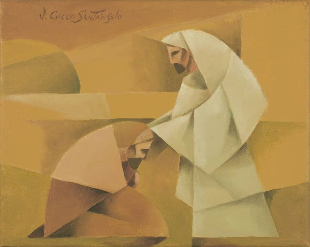 Modern painting of Christ blessing a praying man.