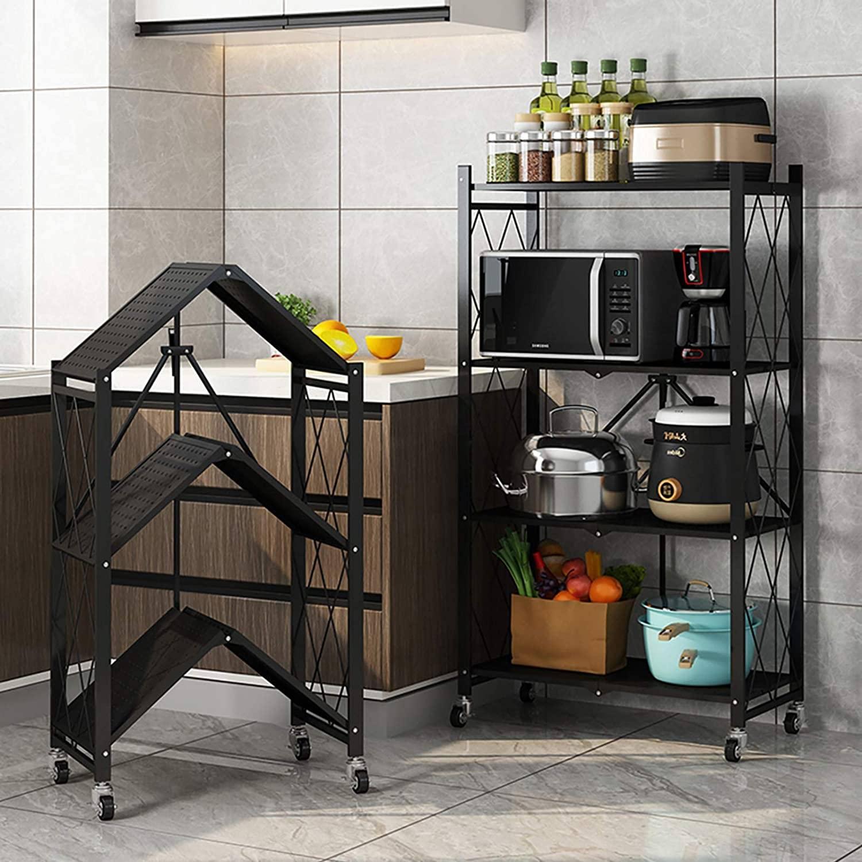 shelving unit, storage rack, kitchen shelf, black shelving