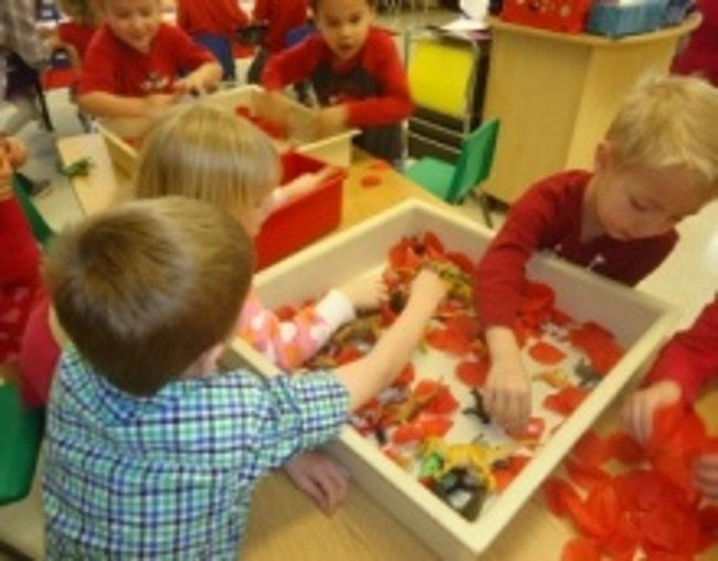 Primrose students do a Valentine's day activity in class