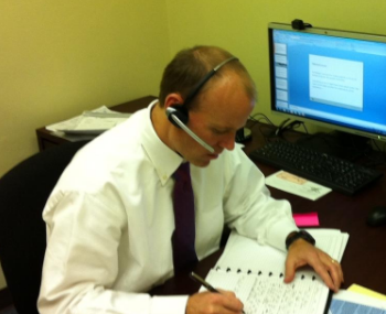 P.J. Banazek in the new office calling old clients: Less than half an hour after giving notice, we had our first client.