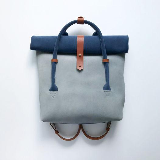 Кожаный рюкзак-сумка Rolltop Navy