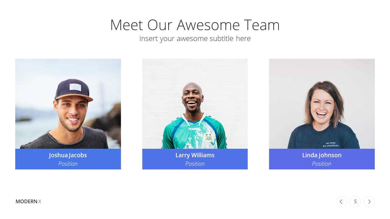 Modern X  Company Profile Presentation Template Team