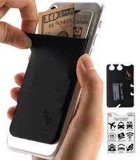 phone wallet black with black logo by gecko travel tech