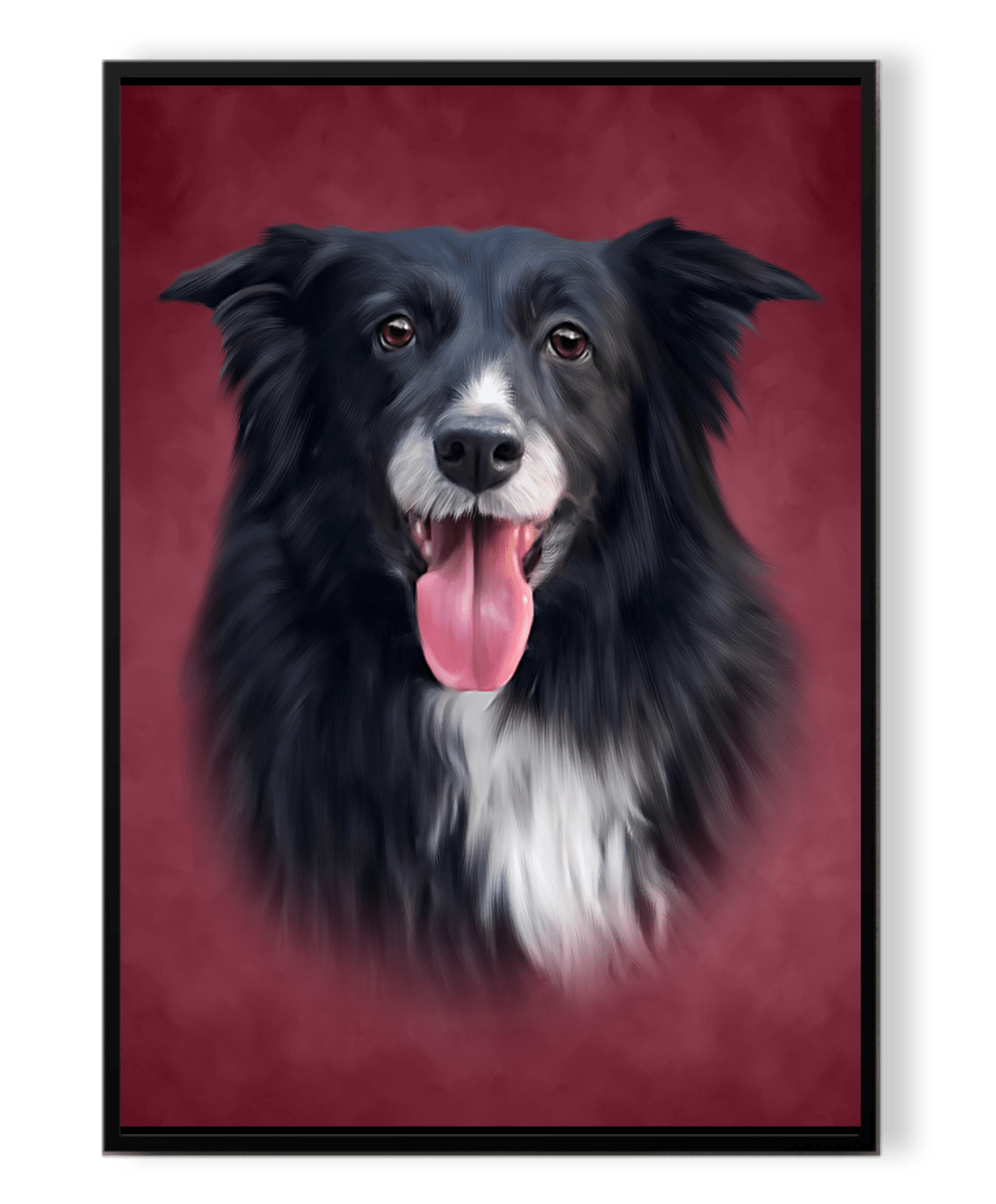 One dog on inside a frame with red background
