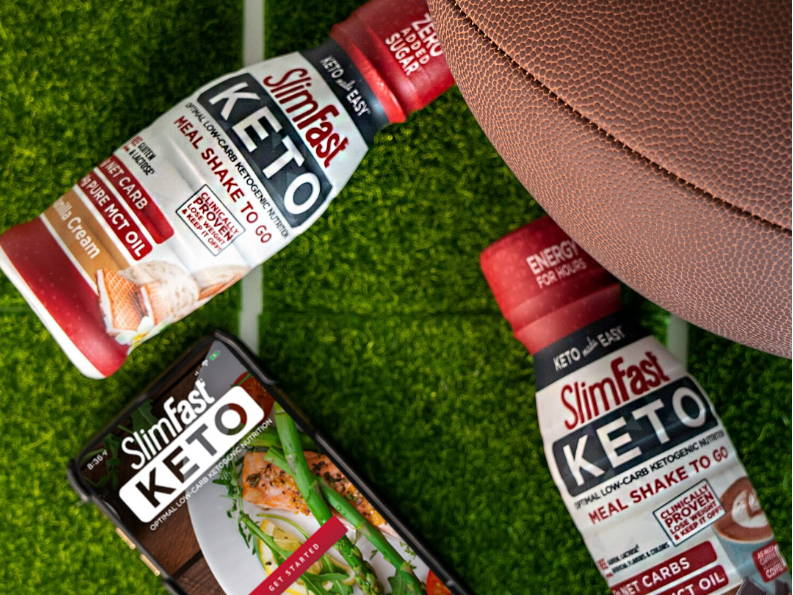 Keto Shake to Go- Lifestyle image on the football field