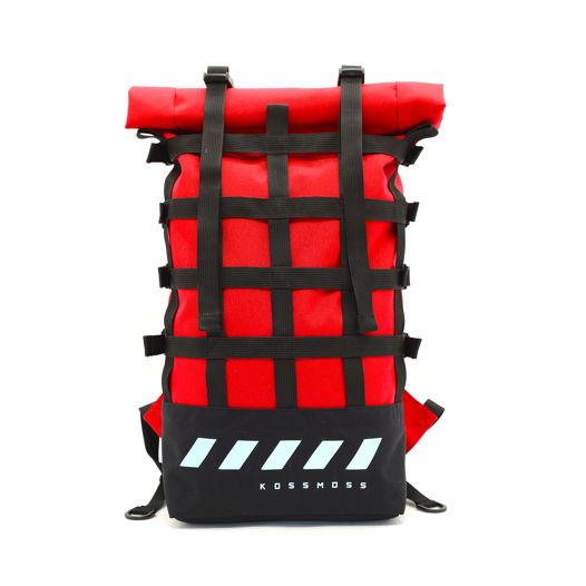 Городской красный рюкзак с внешним сетчатым карманом / Red webbing reflective backpack