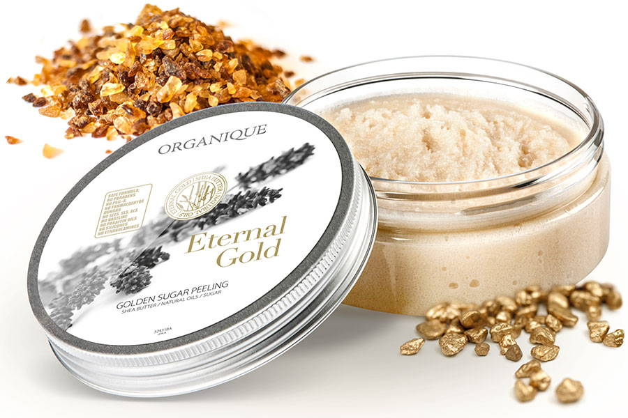 Smoothing Sugar Body Peeling With Gold 200ml box from Organique natural cosmetics