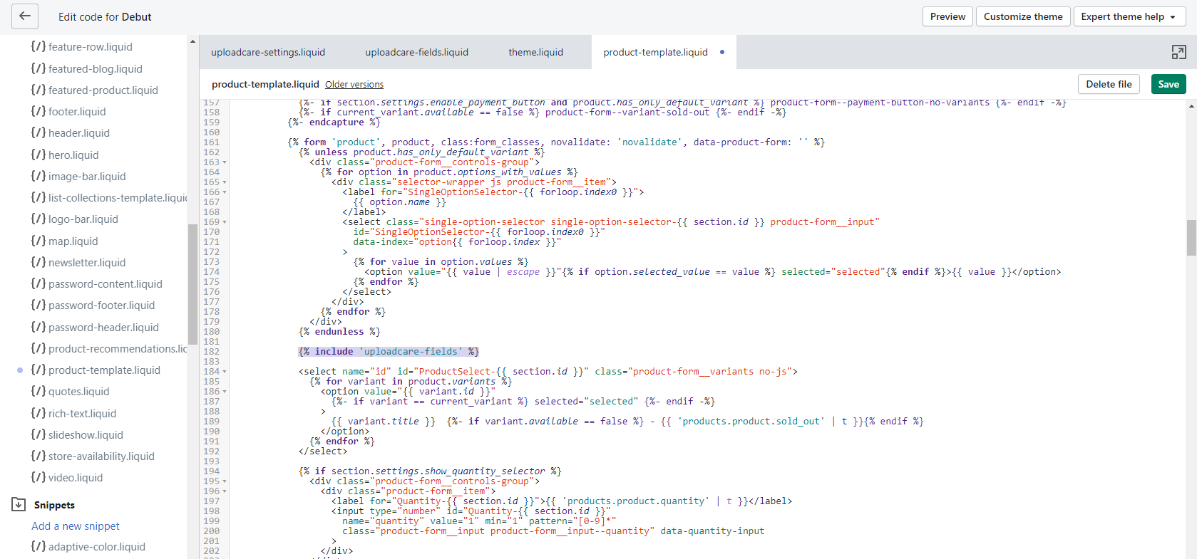 Shopify's code editor